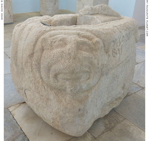 The lion head on the kouros base in Delos at My Favourite Planet