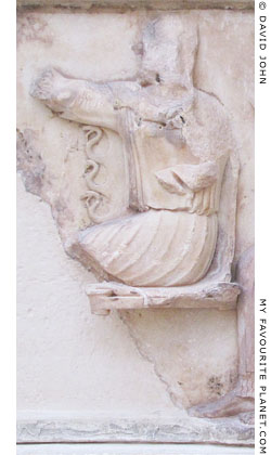 A marble relief of Athena wearing a snake-tasseled aegis at My Favourite Planet