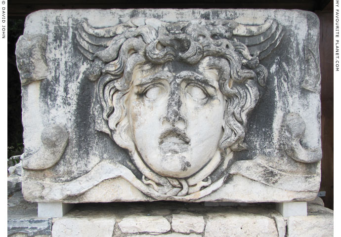 Marble relief of the Gorgon Medusa's head, Temple of Apollo, Didyma at My Favourite Planet