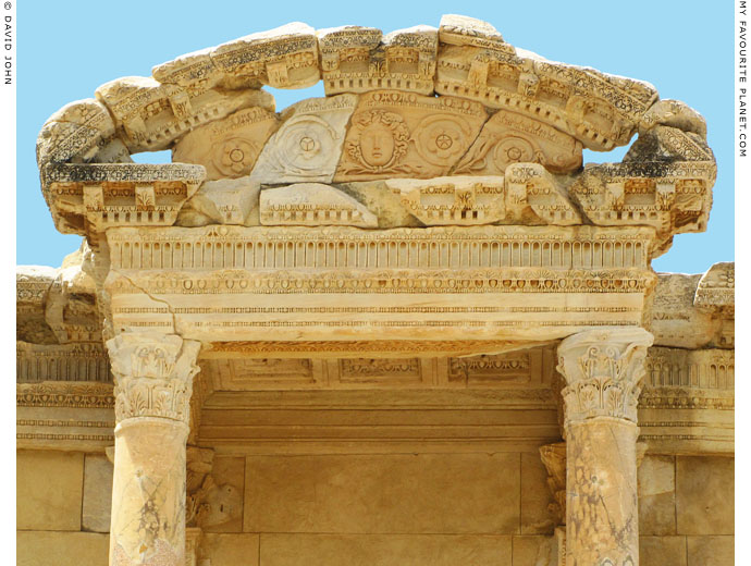A Gorgoneion relief on the facade of the Library of Celsus, Ephesus at My Favourite Planet
