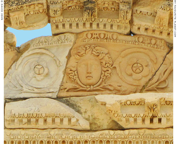 Close-up of the Gorgoneion on the facade of the Library of Celsus, Ephesus at My Favourite Planet