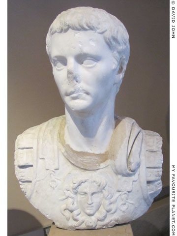 A statue of Emperor Claudius wearing a cuirass with a Gorgoneion at My Favourite Planet