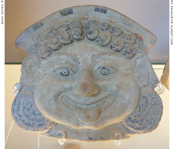 Terracotta Gorgoneion with a krobylos, from Gela, Sicily at My Favourite Planet