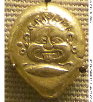 The head of the Gorgon Medusa on a gold stater from Cyzicus at My Favourite Planet