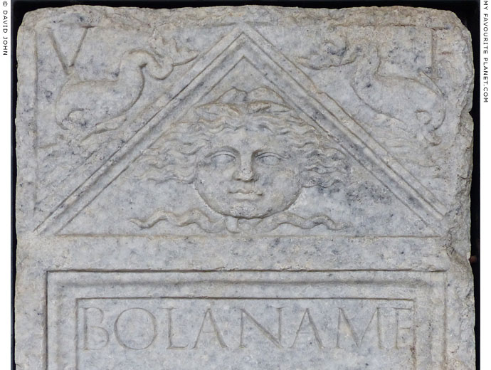 A Gorgoneion on a funerary stele from Mediolanum at My Favourite Planet