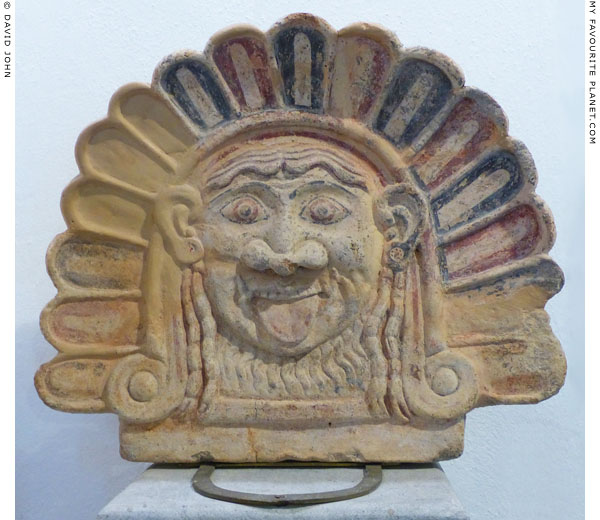 Terracotta antefix with a Gorgoneion in in Mykonos at My Favourite Planet