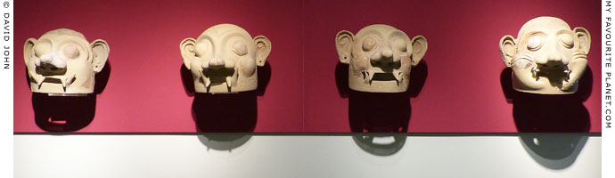 Four terracotta masks from Tiryns in Nafplion Archaeological Museum at My Favourite Planet