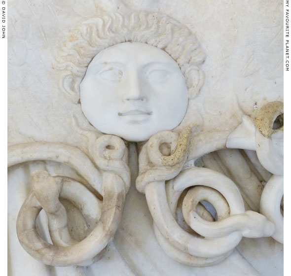 Gorgoneion on the aegis of the Athena Farnese statue at My Favourite Planet