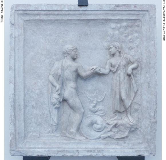 Marble relief of Andromeda and Perseus holding the head of Medusa at My Favourite Planet
