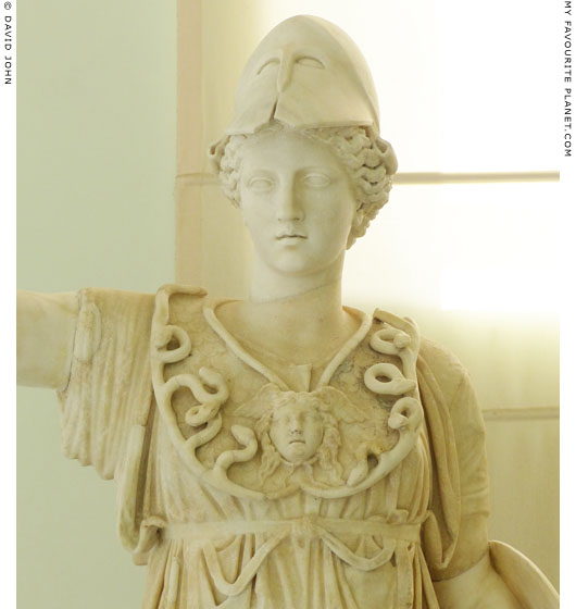 Detail of a statue of Athena wearing the aegis and a Gorgoneion at My Favourite Planet