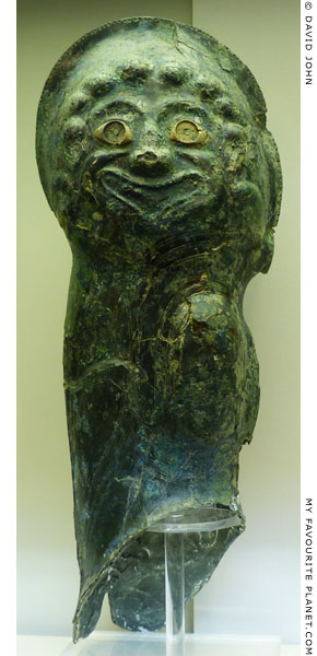 A Gorgoneion on a bronze arm guard from Olympia at My Favourite Planet