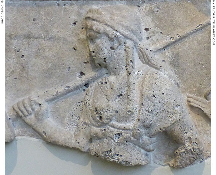 Athena wearing the aegis and Gorgoneion on a marble relief from Piraeus at My Favourite Planet