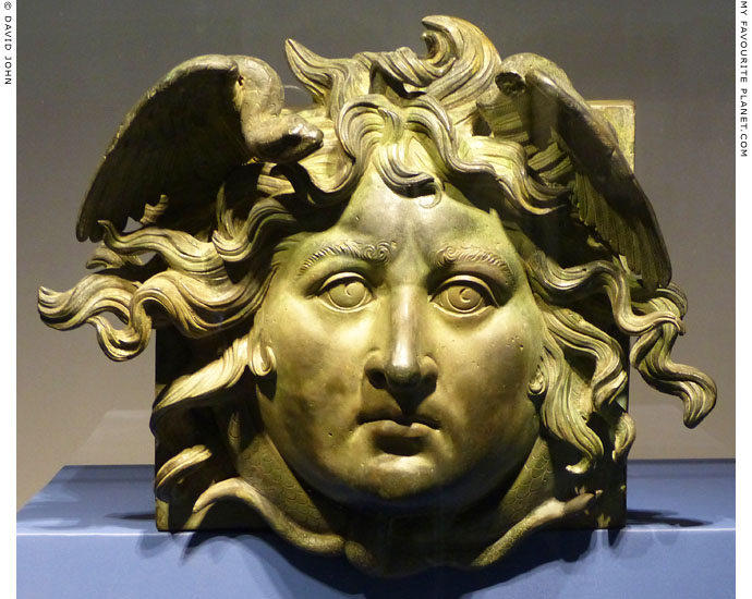 A bronze head of Medusa from one of Caligula's Nemi ships at My Favourite Planet