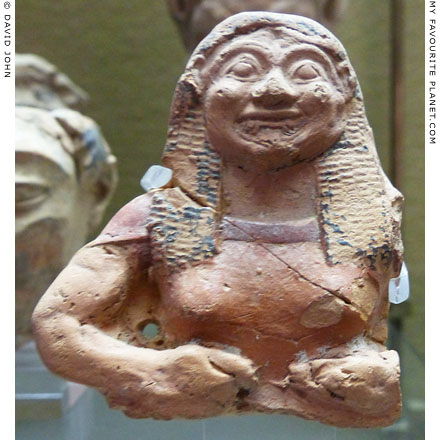 Fragment of a painted terracotta figure of a Gorgon from Megara Hyblaea, Sicily at My Favourite Planet