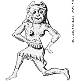 Lead figurine of a running Gorgon from Sparta at My Favourite Planet