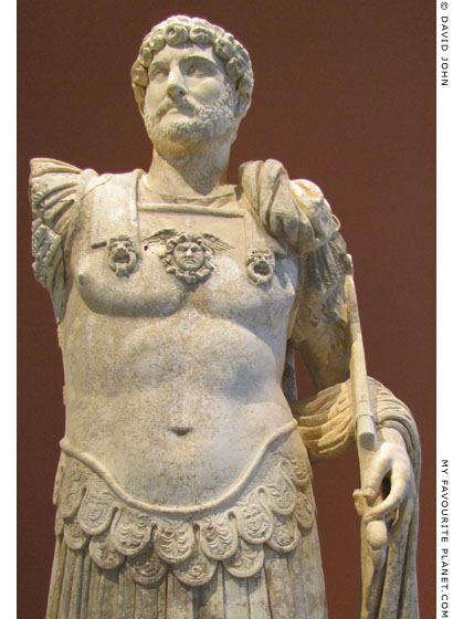A statue of Emperor Hadrian wearing a cuirass with the Gorgoneion at My Favourite Planet