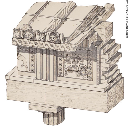 A reconstruction drawing of part of the entablature of the Apollo temple at Thermon at My Favourite Planet
