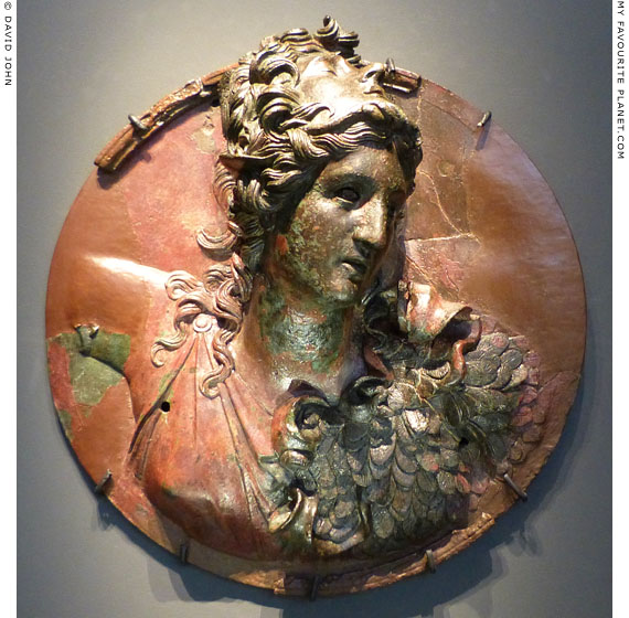 Bronze medallion of Athena Promachos wearing a Gorgoneion and Aegis at My Favourite Planet
