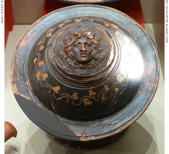 Black-glaze pyxis with a Gorgoneion relief, Veria, Macedonia, Greece at My Favourite Planet
