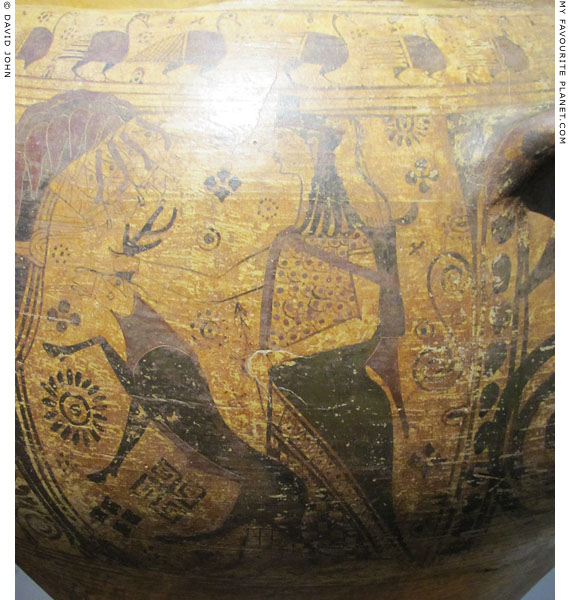 Artemis holding a deer by its antlers on the body of an Archaic krater at My Favourite Planet