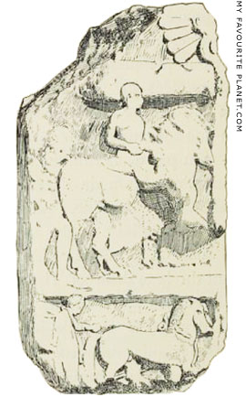 Drawing of the other side of the Dorylaeum stele at My Favourite Planet