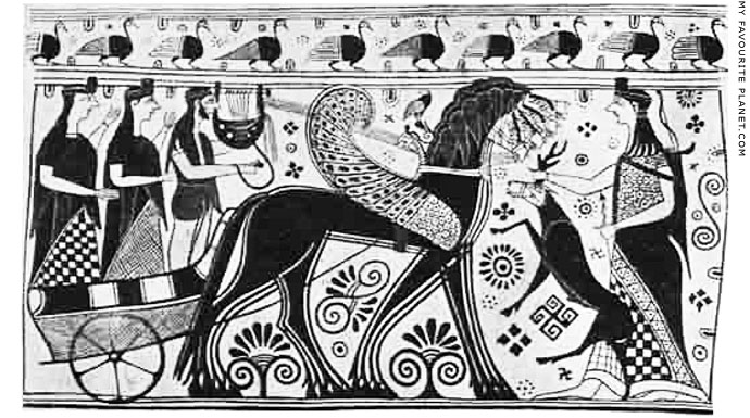 Drawing of Apollo and Artemis on the Cycladic krater in Athens at My Favourite Planet