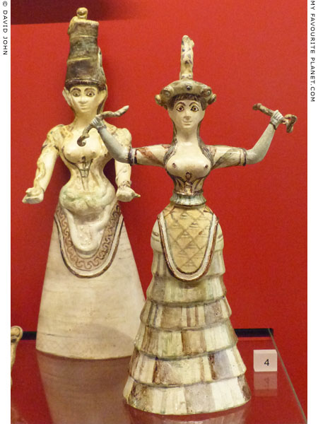 Replicas of two faience figurines of Minoan snake goddesses at My Favourite Planet