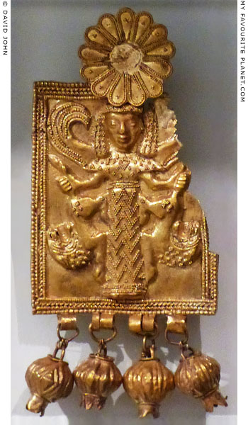 Gold plaque pendant with a depiction of the Mistress of Animals from Kamiros, Rhodes at My Favourite Planet