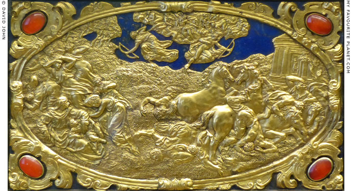 The Death of the Niobids, gold relief by Antonio Gentili at My Favourite Planet