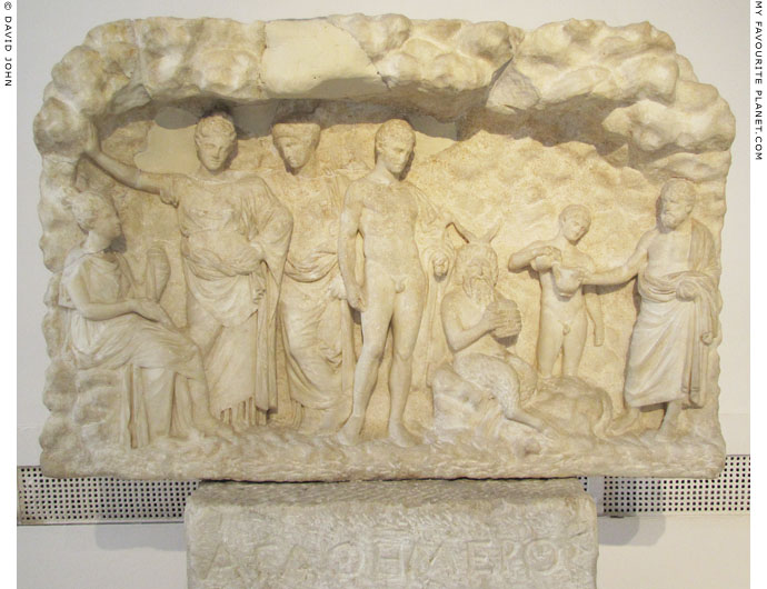 Marble votive relief dedicated to the Nymphs, from the Cave of the Nymphs, Mount Penteli, Attica at My Favourite Planet