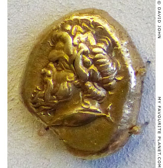 Gold stater of Kyzikos with the head of Pan at My Favourite Planet