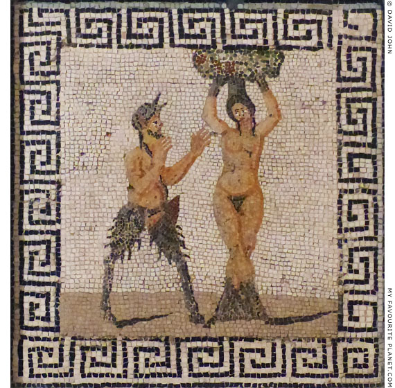 Pan and Pitys or a Hamadryad on a mosaic in Naples at My Favourite Planet