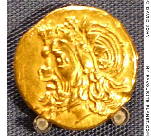 Head of Pan on a gold coin of Panticapaeum, Crimea at My Favourite Planet