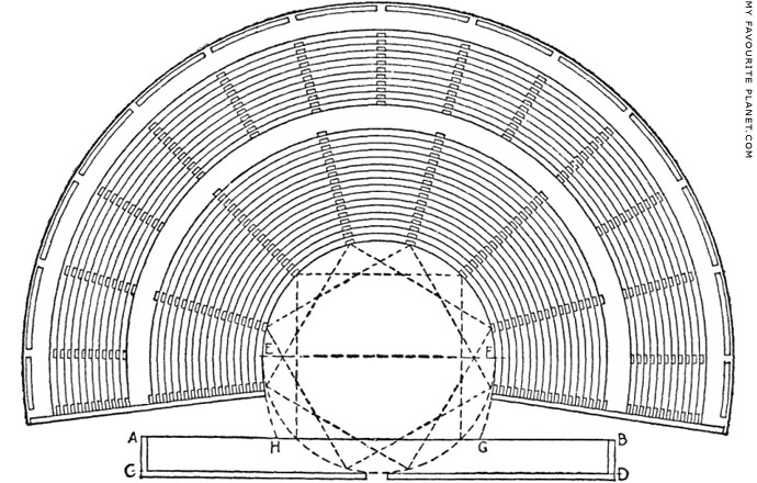 Plan of a Greek theatre according to Vitruvius at My Favourite Planet